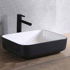 Vasque à poser noire et blanche en céramique, 51x40 cm, Pure New Room, Sink, Inspiration, Design, Bathroom Ideas, Home Decor, Bathrooms, Images, Villa