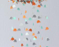 Blue Gray & White Elephant Nursery Mobile Decor Baby Shower