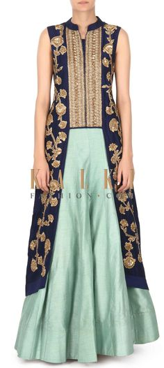Buy this Navy blue jacket matched with pista green lehenga only on Kalki