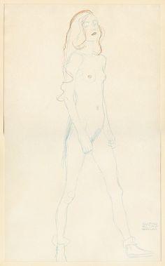 Gustav Klimt Standing Nude [Fünfundzwanzig Handzeichnungen], 1919 Collotype