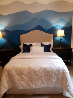 Created for their youngest and autistic daughter we wanted to give her a peaceful Mountain Vista in her personal space.