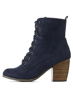 Chunky Heel Lace-Up Booties: Charlotte Russe  #CRshoecloset #boots