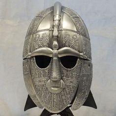 Larp Armour Sutton Hoo helmet by WyrmwickCreations on Etsy Army Helmet, Viking Helmet, Larp Armor, Medieval Armor, Sutton Hoo, Cosplay Helmet, Suffolk England, Dragon Eye, Anglo Saxon