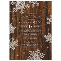 Rustic winter snowflake bridal shower invitation {Courtesy of Lemon Leaf Prints Inc.}