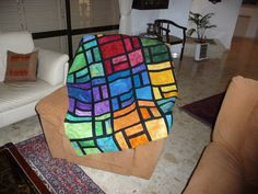 Artist patchwork multicolored quilt by Hanna Orr. by DearQuilt, $350.00