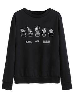 Black Plants Print Sweatshirt — 0.00 € --------------------------color: Black size: L,M,S