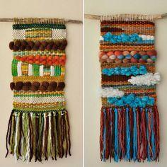 Telares colgantes, diferentes diseños, colores y texturas  #telar  #weaving #handmadewool #telaresdecorativos Weaving Art, Loom Weaving, Tapestry Weaving, Hand Weaving, Diy And Crafts, Arts And Crafts, Tear, Woven Wall Hanging, Hand Embroidery