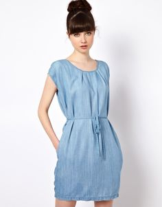 button shoulder denim dress - Google keresés