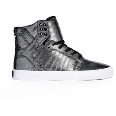 Supra Skytop Leather High Top Trainers ($73) ❤ liked on Polyvore featuring shoes, sneakers, black, black high tops, black laced shoes, black high top sneakers, lace up sneakers and high-top sneakers