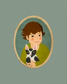 Give them a portrait of themselves and a cherished pet.