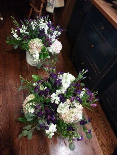 Entryway florals- bottoms wrapped with tulle