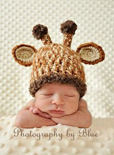Newborn Baby Crochet Giraffe Hat with Removable Flower Photo Prop. So adorable!
