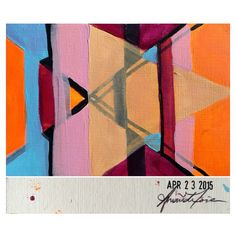 April 23, 2015 (4x6) original painting signed and dated on the back #amoriedailypainting #art #design #color #geometric