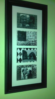 Wal Mart picture frame, scrapbook paper and 'stolen' Facebook photos - For Casey's first college apartment ♥