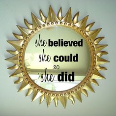 Wall decal mirror decal motivational she believed she could so she did