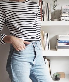 Armor Lux Breton Striped top, mom jeans