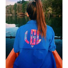 Preppy Lilly Pulitzer Monogrammed Columbia Pfg Fishing Shirt Cover Up ($45) ❤ liked on Polyvore featuring swimwear, cover-ups, pink, tops, women's clothing, monogrammed cover up, cover up swimwear, beach wear, palm swimwear and pink swimwear