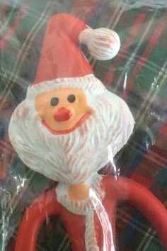 Vintage Holiday Christmas Bendable Santa Claus !  In Original Package from the 1960's.  Twist and Bend Santa Made in Hong Kong (CH13)