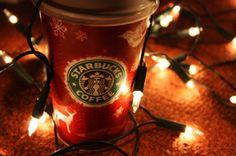 рождество, мило, мода, гирлянда, девушка, праздник, Новый год, популярное, Starbucks, стиль, зима