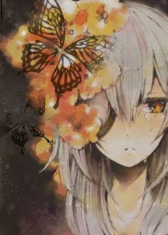 anime, anime girl, butterfly, cry