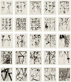 Artwork by Brice Marden, Etchings to Rexroth, Made of etchings with aquatint, on Rives BFK paper Abstract Drawings, Abstract Lines, Abstract Art, Action Painting, Painting & Drawing, Gcse Art Sketchbook, Scribble Art, Writing Art, Black And White Abstract