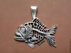 """Купить рыба """"пиранья"""" - комбинированный, кулон-подвеска серебряная, ювелирное украшение, подарок мужчине"""