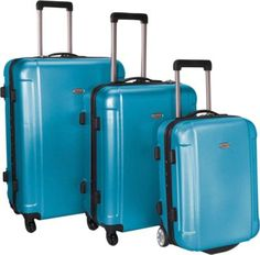 122 Traveler's Choice Freedom II - 3-Piece Hardside Spinner/Rolling Luggage Set Arctic Blue - via eBags.com!