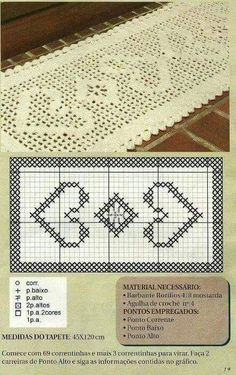 crochet bracelet heart chart also has a fair few filet charts if you click the link in the right hand tray - PIPicStats Crochet Bracelet Pattern, Crochet Beaded Bracelets, Crochet Patterns, Crochet Table Runner, Crochet Tablecloth, Crochet Doilies, Filet Crochet Charts, Crochet Diagram, Thread Crochet