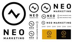 NEO MARKETING | キタダデザイン Logo Sign, Typography Logo, Logo Branding, Logo Samples, Japan Logo, Brand Guide, Graphic Design Branding, Logo Inspiration, Type