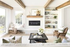 When it comes to modern traditional fusion, this Minnesota home nails it. Step inside and see how the designer Bria Hammel transformed this interior. Living Room Remodel, Home Living Room, Living Room Designs, Living Room Decor, Living Room Electric Fireplace, Living Room With Windows, Living Room Built Ins, Electric Fireplaces, Outdoor Fireplaces