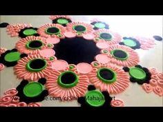 Small Innovative Rangil Design by Shital Mahajan # Quick Rangoli# Simple Rangoli Rangoli Designs Latest, Simple Rangoli Designs Images, Rangoli Designs Flower, Rangoli Border Designs, Rangoli Patterns, Colorful Rangoli Designs, Rangoli Ideas, Rangoli Designs Diwali, Diwali Rangoli