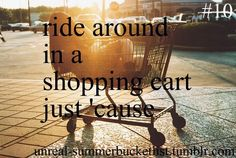 Ride in a shopping cart just 'cause