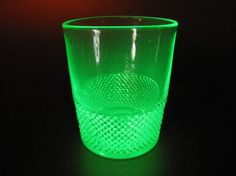 Vintage Uranium Glass Barware / Tableware with Knurled Pattern