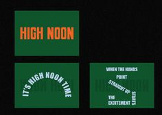 High Noon is a creative space that explores the peak of career and the highest of the day. The hand-lettered typographic logo draws upon western inspirations from the High Noon film.