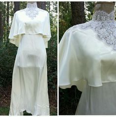 Wedding Dress Size Small Satin Lace Beaded Vintage 80s Cape Column Formal