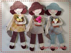 By Churi Chuly Shop 3 daughters Hand Applique, Applique Patterns, Applique Quilts, Applique Designs, Embroidery Applique, Fabric Dolls, Fabric Art, Paper Dolls, Fabric Crafts