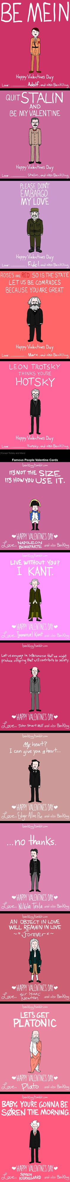 13 Dictator and Famous People Valentine Day Cards (By Ben Kling)