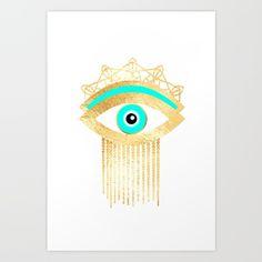 Evil eye gold foil print Art Print by sofiahawk Hamsa Painting, Zen Painting, Chevron Printable, Evil Eye Art, Ritual Magic, Eye Illustration, Cosmic Art, Gold Wall Art, Gold Foil Print