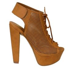 Trixie-H is a super sexy and super alluring pair of platform heels features a peep toe front, covered platform and chunky exposed heel. Lace up construction with perforated side panels and adjustable