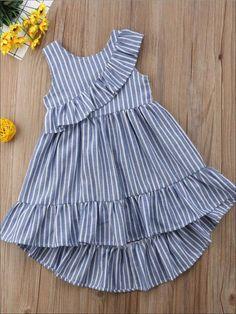 Girls Blue Striped Ruffle Sleeveless Hi-Low Dress - Girls Spring Casual Dress Source by dresses girl Frock Design, Baby Dress Design, Baby Girl Dress Patterns, Frocks For Girls, Little Girl Outfits, Little Girl Dresses, Kids Outfits, Girls Dresses, Baby Frocks Designs