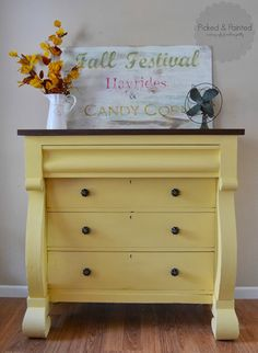Gorgeous Yellow Empire Dresser by {Picked and Painted} #PaintedFurniture #YellowDresser
