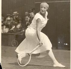 French player Suzanne Lenglen, in action at Wimbledon in 1924