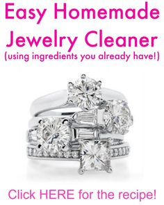 Cheap Diamond Magic Homemade Jewelry Cleaner- it really works! Jewelry that I was planning to throw away came sparkly clean and practically looked brand new! Homemade Jewelry Cleaner, Cleaners Homemade, Diy Cleaners, Household Cleaners, Do It Yourself Jewelry, Do It Yourself Wedding, Cleaning Recipes, Cleaning Hacks, Cleaning Supplies