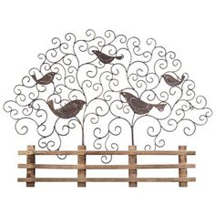 rustic metal bird wall decor with wood fence angled metal legs 4quotw