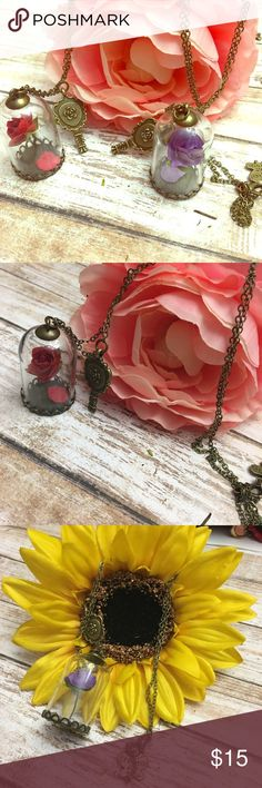Beauty & the Beast Enchanted Rose Necklace 🌹🌹 Each one is handmade the rose is made to look as close as possible to the real thing! Long 34 inch bronze colored chain with super cute Rose in Glass and mirror. Lobster clasp opening.  🌹🌹🌹 Jewelry Necklaces