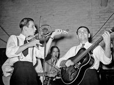Russell Lee - Cajun musicians at fais-do-do at National Rice Festival.  Crowley, Louisiana, 1938