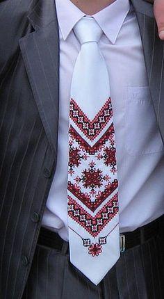 I love this so much - Ukrainian style tie Polish Embroidery, Folk Embroidery, Embroidery Fashion, Beaded Embroidery, Embroidery Patterns, Ukrainian Dress, Ethnic Bag, Palestinian Embroidery, Embroidery Techniques