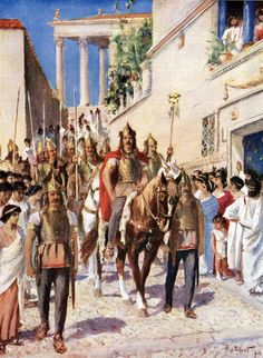 Alaric I (370-410), a king of Visigoths entering to captured Athens. He is interesting figure, because according to sources the sack of Rome was never his primary goal. He had served previously under Roman colours and during Italian campaign his main aim was to gain land for his people and a prominent position for himself in Roman army . Also a lofty ransom of gold would have been appreciated :) These are of course strong demands, but yet again he wanted to achieve them within the framework…