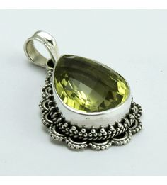 Looking Wow !! Lemon Topaz 925 Sterling Silver Pendant, Weight: 9.1 g, Stone - Lemon Topaz, Size - 3.8 x 2.2 cm, Wholesale Orders Acceptable, All Pieces have 925 Stamp