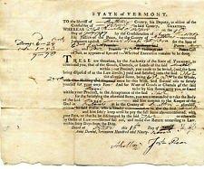 GENERAL AMOS KELLOGG VERMONT REVOLUTIONARY WAR PATRIOT SIGNED DOCUMENT 1797
